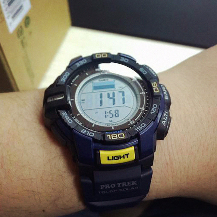 第二次惠惠海淘 <font color='red'>卡西欧</font><font color='red'>Casio</font> Men&#39;s PRG-270-2CR PRO TREK Aviator Blue Watch